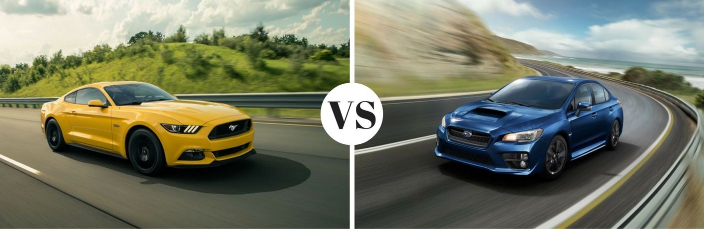 Yellow Ford Mustang and blue Subaru WRX in comparison shot