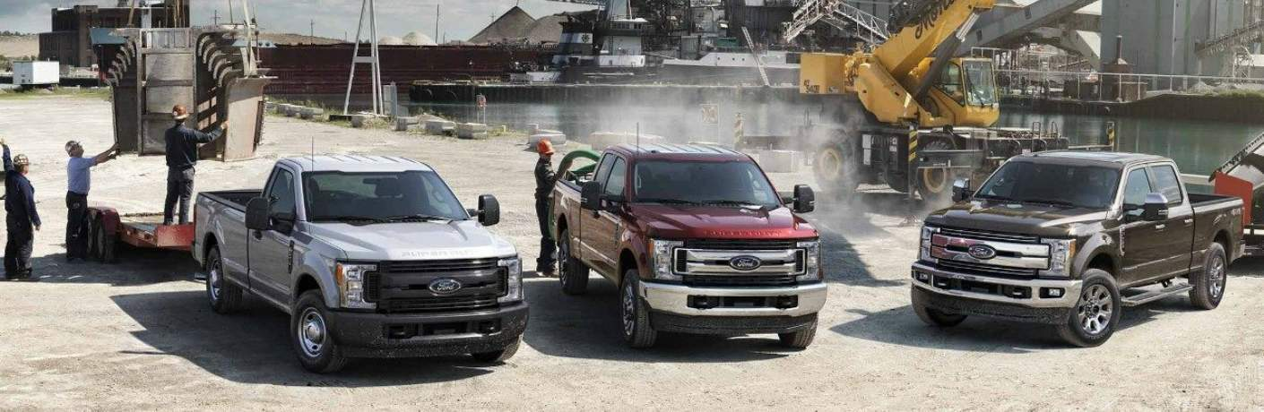 Lineup of Ford Super Duty Trucks