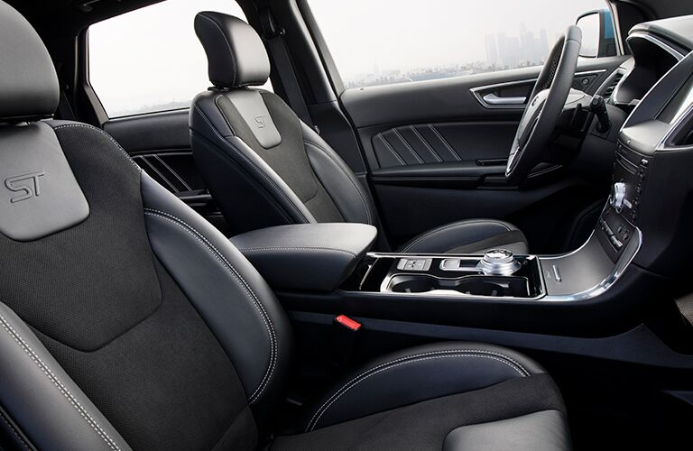 Front two seats of 2019 Ford Edge ST trim