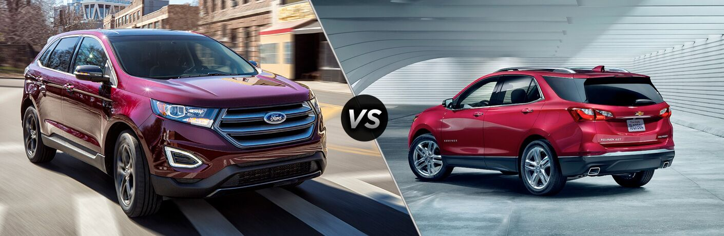 Red 2019 Ford Edge and Chevrolet Equinox models positioned next to each other in comparison image