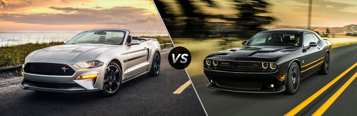 2019 silver ford mustang vs 2019 black dodge challenger