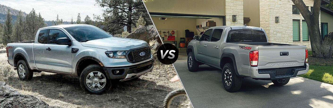 2019 Ford Ranger and 2019 Toyota Tacoma in comparison image