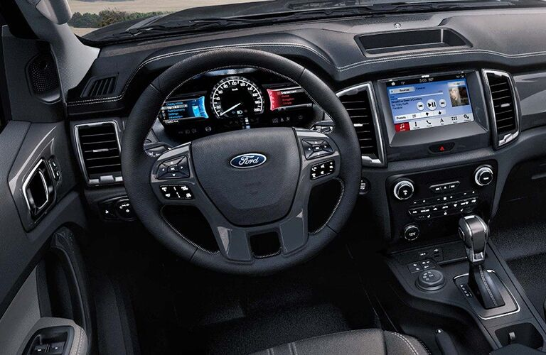 Centre touchscreen and steering wheel of 2019 Ford Ranger