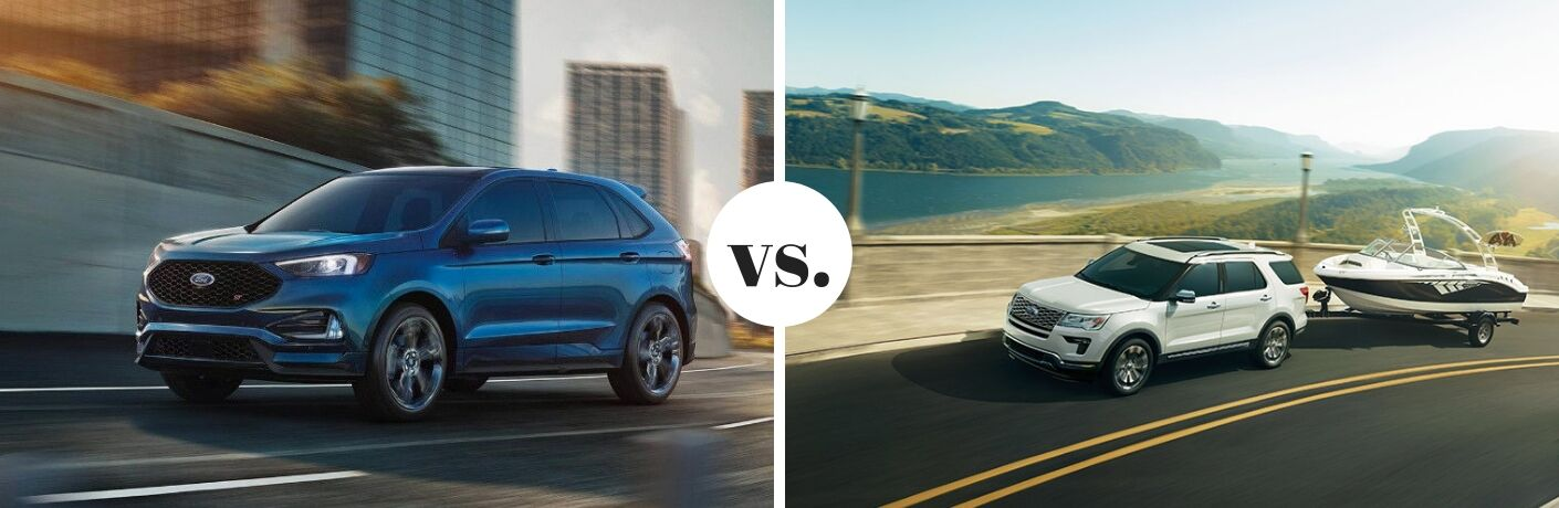 Blue 2019 Ford Edge next to white 2019 Ford Explorer in comparison image