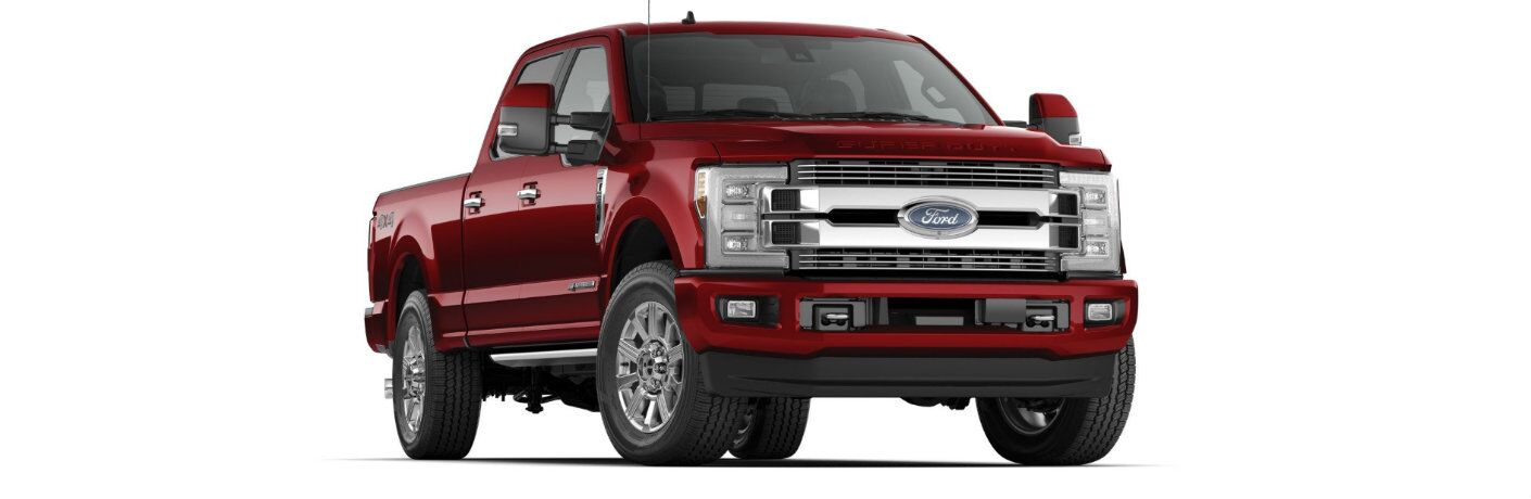 Red 2019 Ford Super Duty F-350 Limited on white background