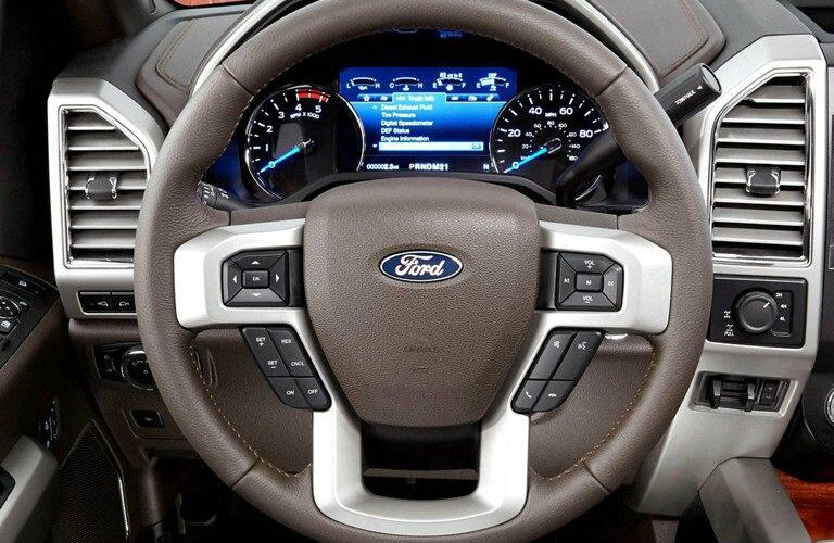 Steering wheel and gauge cluster inside 2019 Ford Super Duty F-350 King Ranch