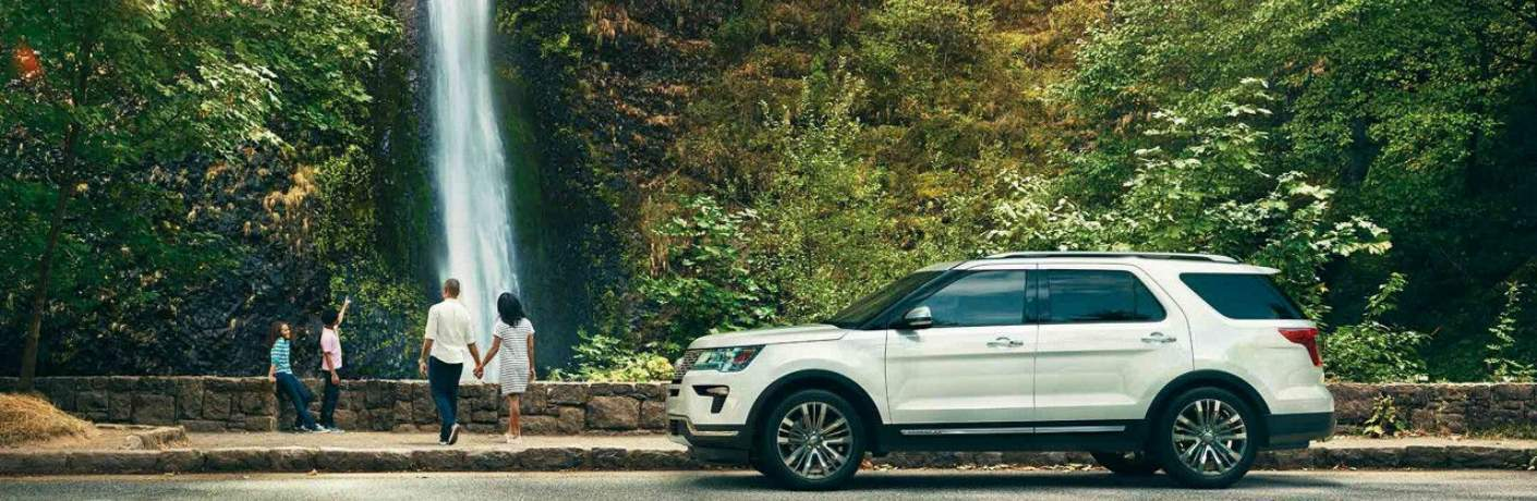 2018 Explorer Platinum Parked by a Waterfall