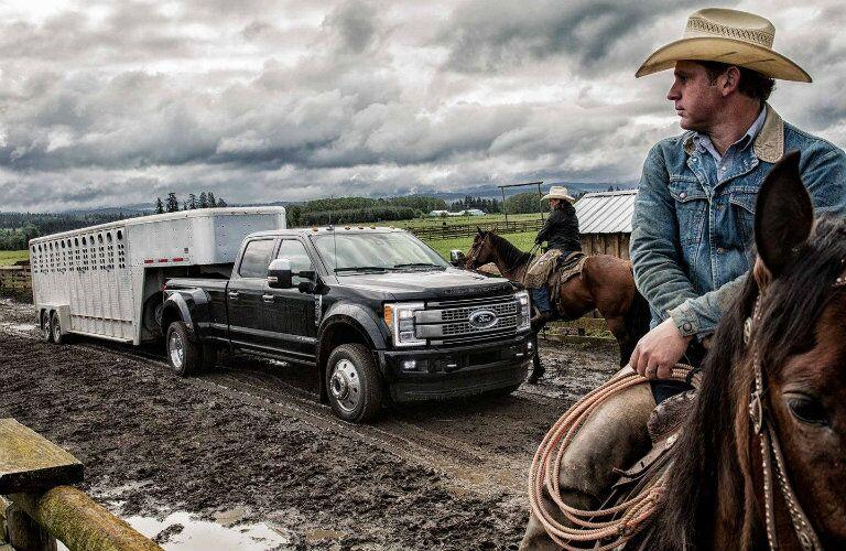 Black 2019 Ford Super Duty F-350 Platinum parked at ranch