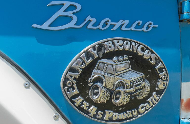 Ford Bronco emblem on blue painted model