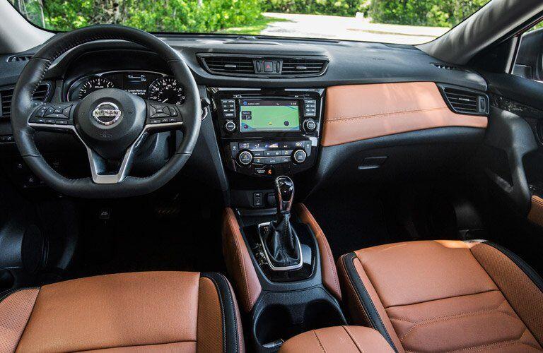 2017 Nissan Rogue Front Cabin Orange Interior