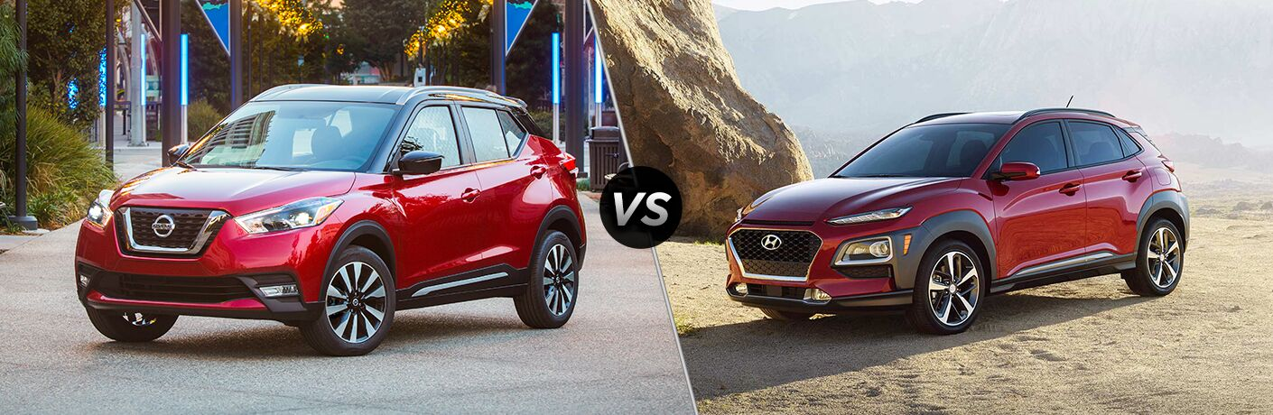2018 Nissan Kicks in Red vs 2018 Hyundai Kona in Red