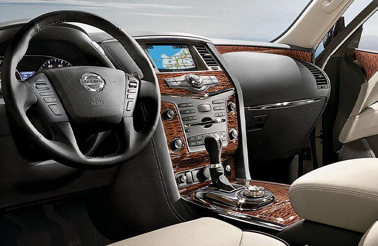 2020 Nissan Armada dashboard and steering wheel