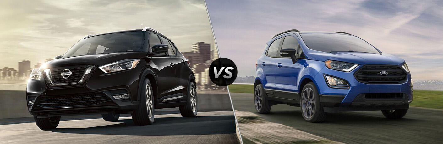 2020 Nissan Kicks next to a 2020 Ford EcoSport