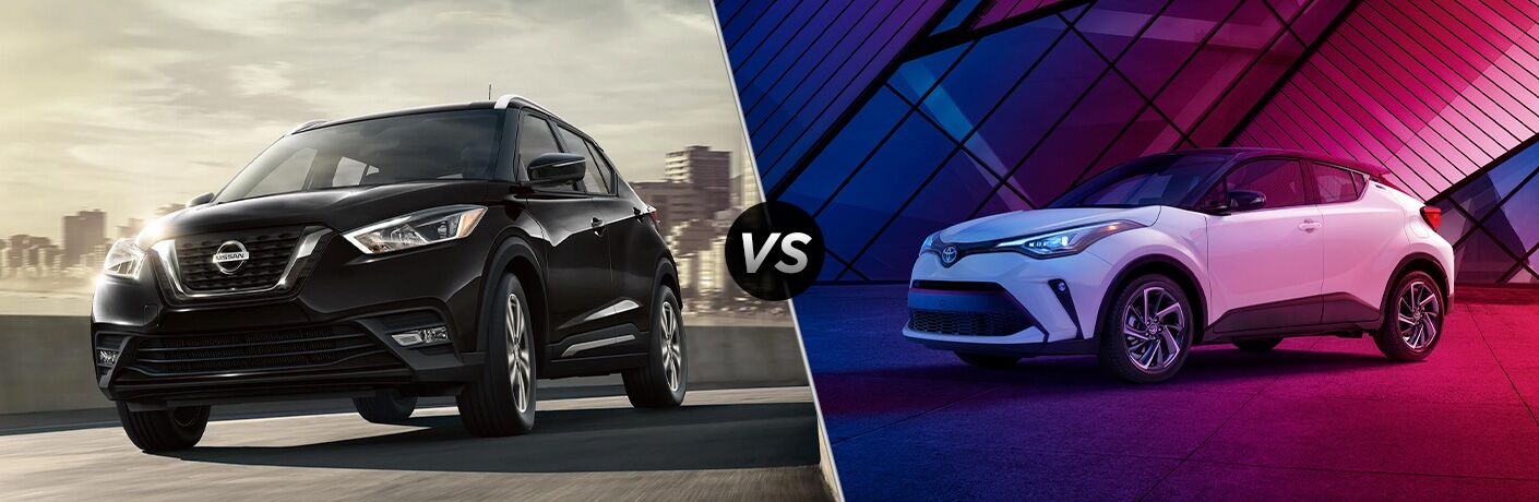 2020 Nissan Kicks next to a 2020 Toyota C-HR