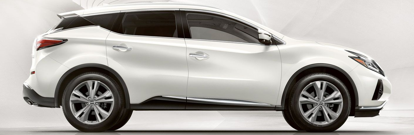 side view of a white 2020 Nissan Murano
