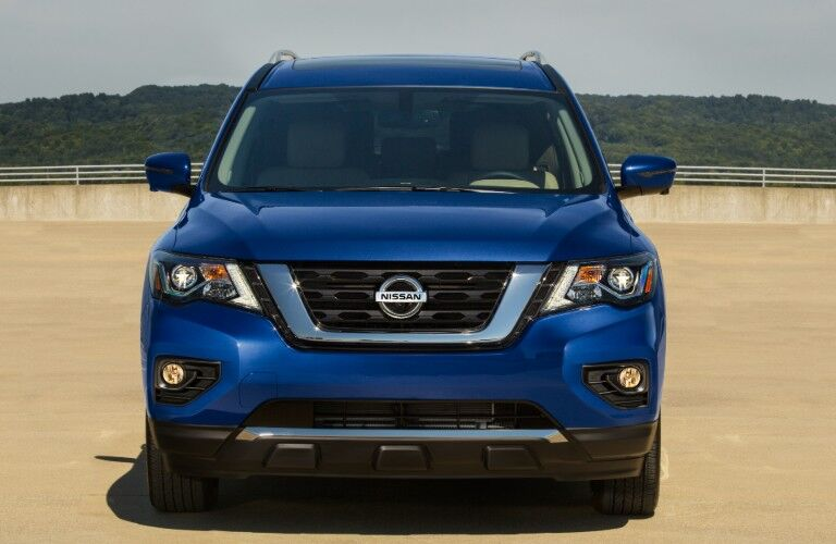 front view of blue 2020 Nissan Pathfinder