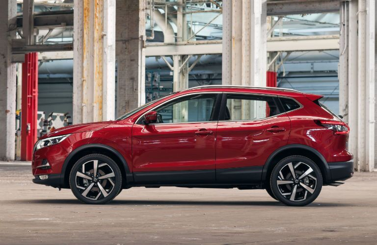 Side view of red 2020 Nissan Rogue Sport