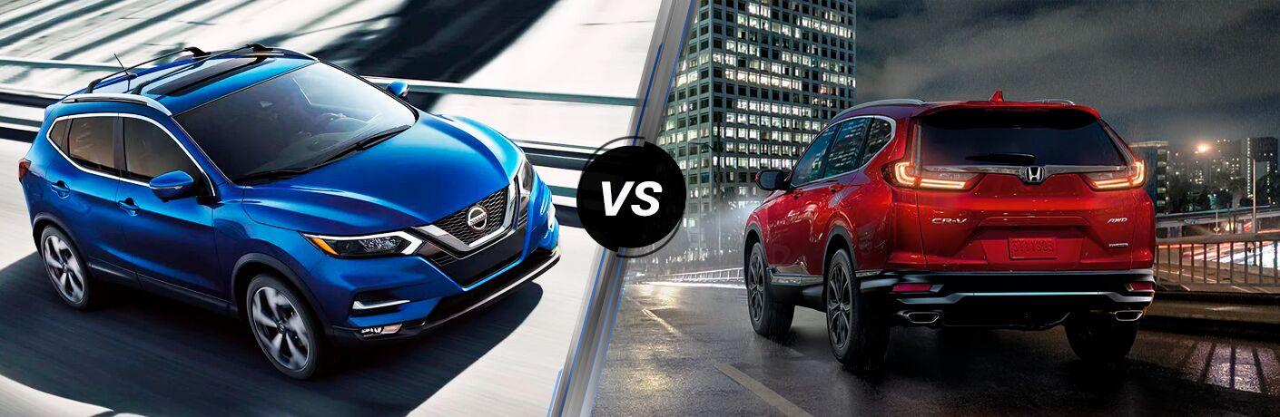 2020 Nissan Rogue Sport next to a 2020 Honda CR-V