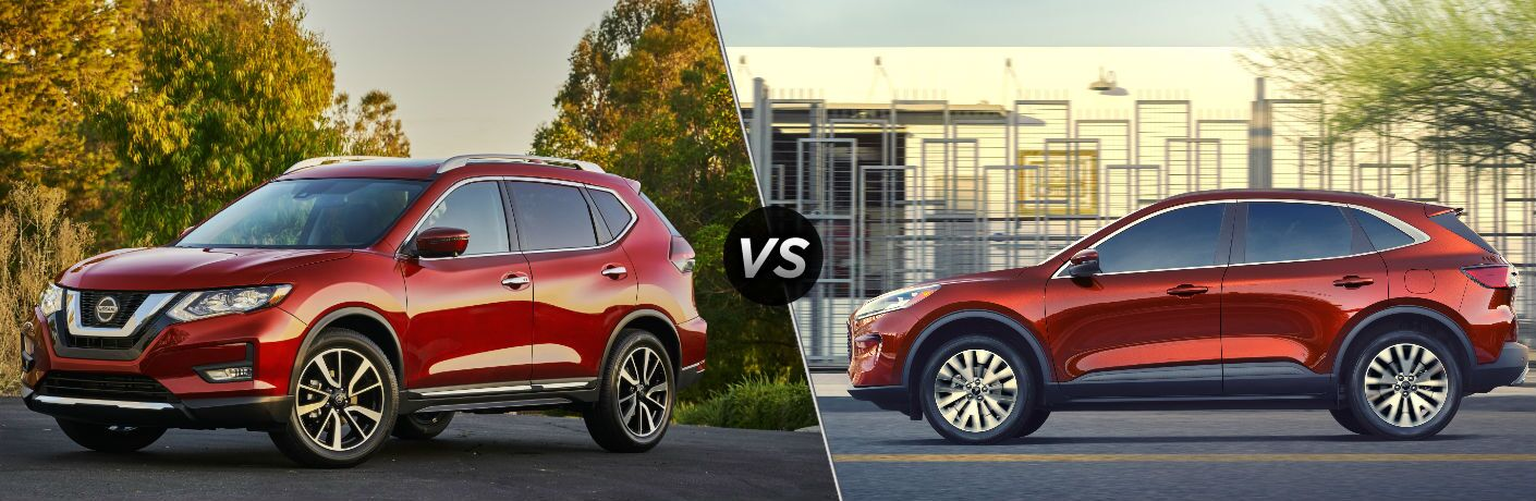 Red 2020 Nissan Rogue and red 2020 Ford Escape