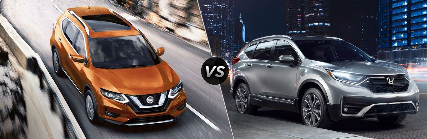 Orange 2020 Nissan Rogue and silver 2020 Honda CR-V