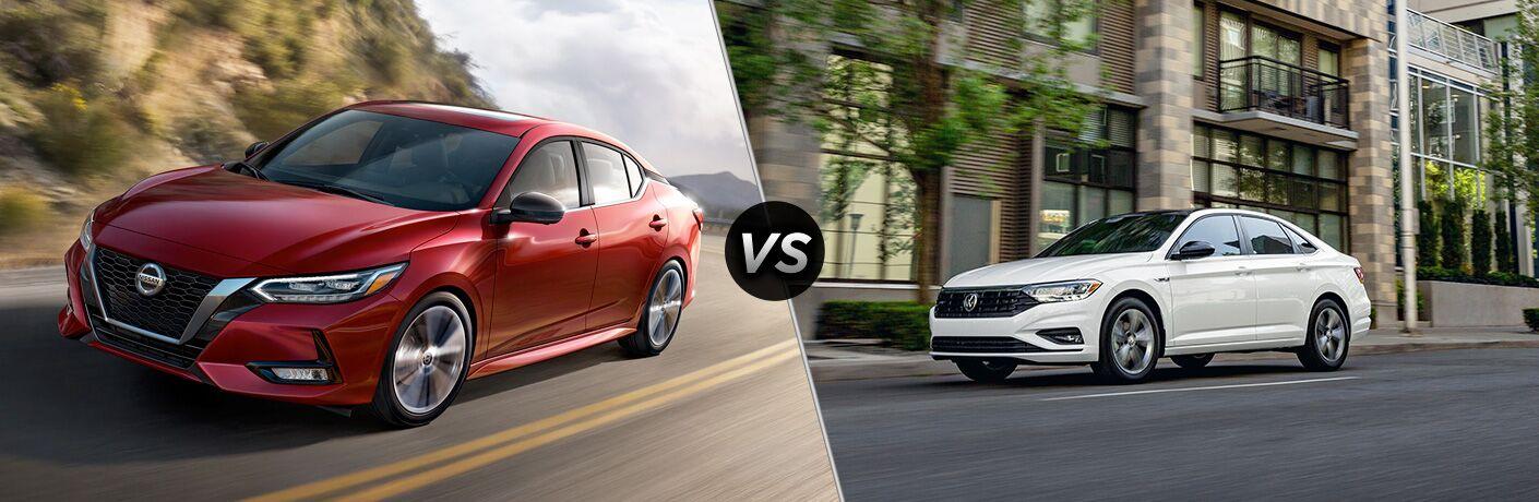 2020 Nissan Sentra next to a 2020 Volkswagen Jetta