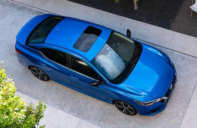 2020 Nissan Sentra blue overhead shot showing sunroof and hood