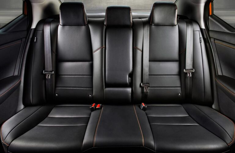 2020 Nissan Sentra interior shot of back row of seats in leather