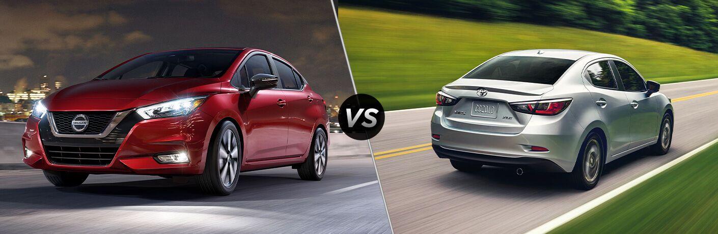 2020 Nissan Versa next to a 2020 Toyota Yaris