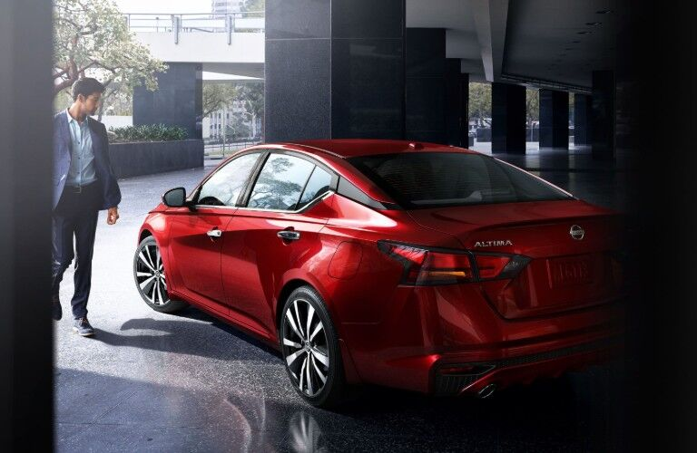 2020 Nissan Altima rear in red