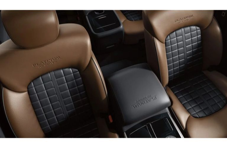 2020 Nissan Armada platinum reserve trim brown and black leather seats interior birds eye view