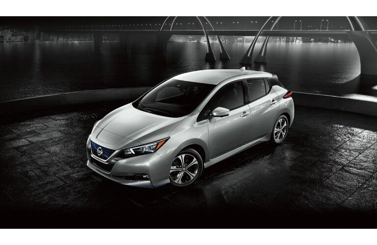 2020 Nissan Leaf high angle shot on concept of waterfront