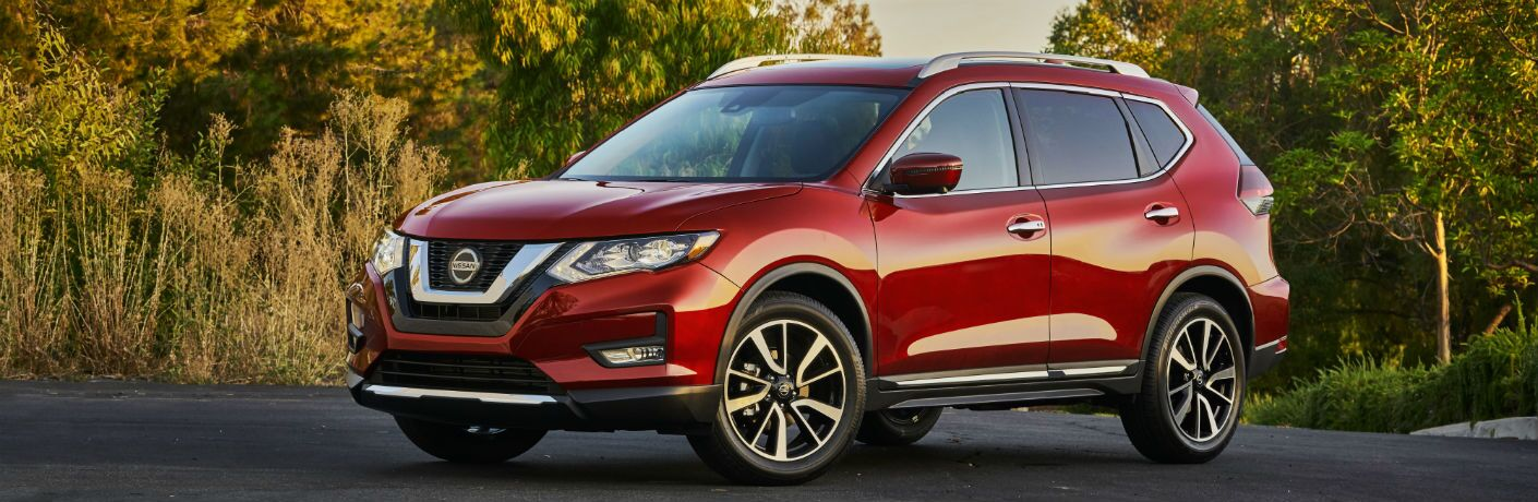 Exterior view of red 2020 Nissan Rogue