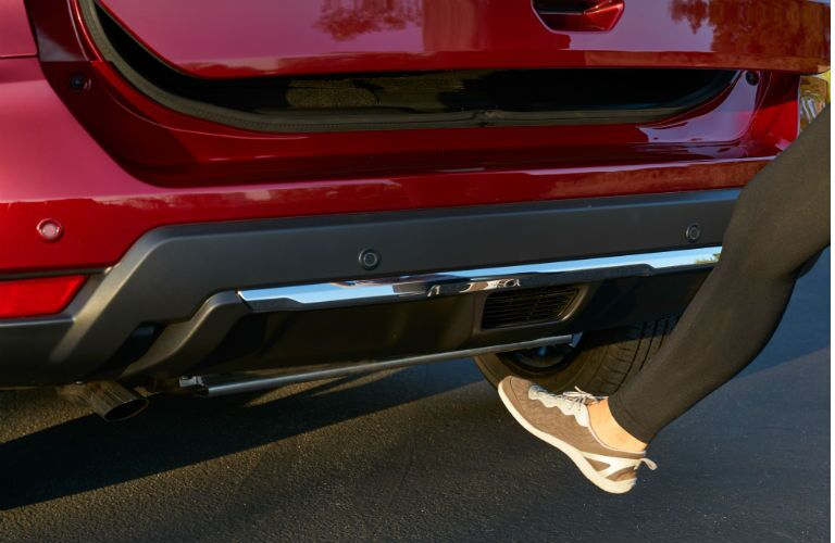 Foot under trunk of 2020 Nissan Rogue