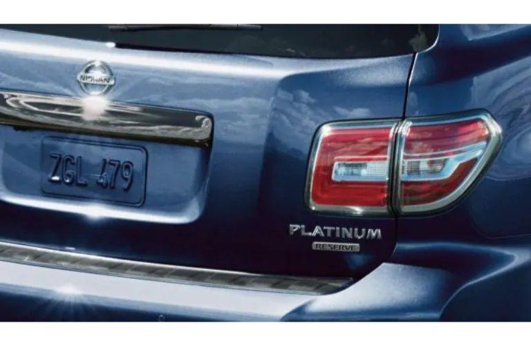 2020 Nissan armada plantinum reserve badging on blue paint rear exterior
