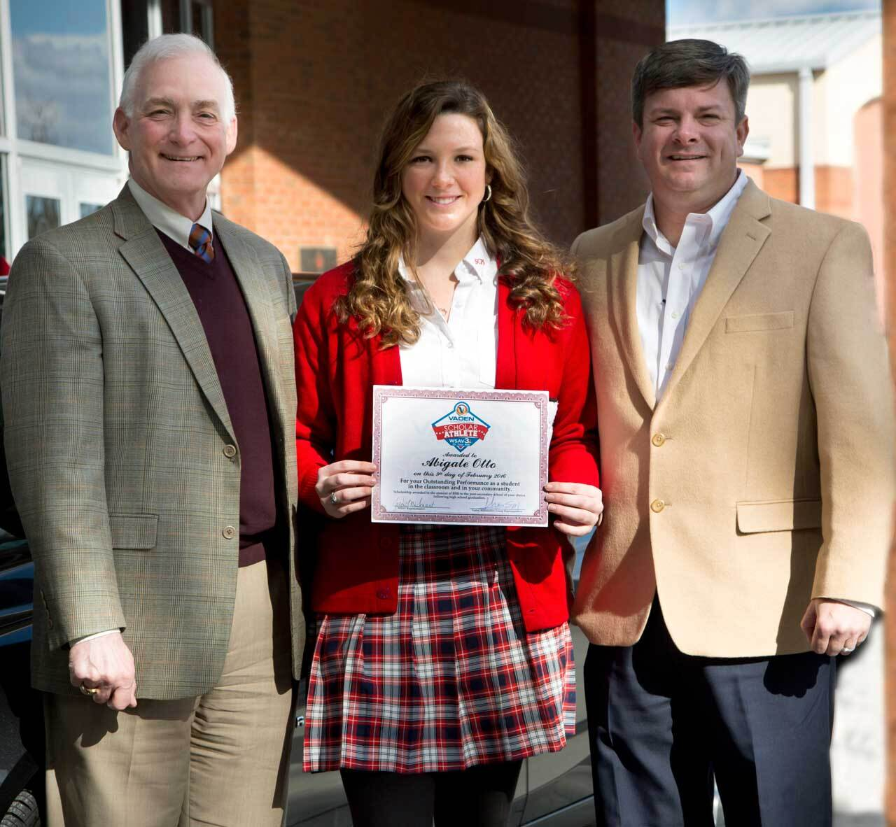Vaden Scholar Athlete Program Recipient