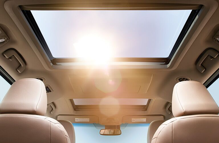 The sun shining through the dual moonroof in a 2020 Toyota Sienna
