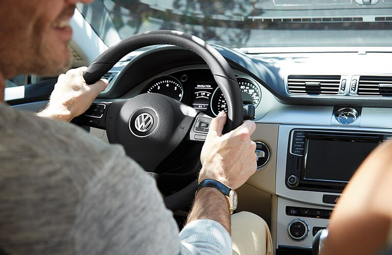 The view of the 2016 VW CC's steering wheel