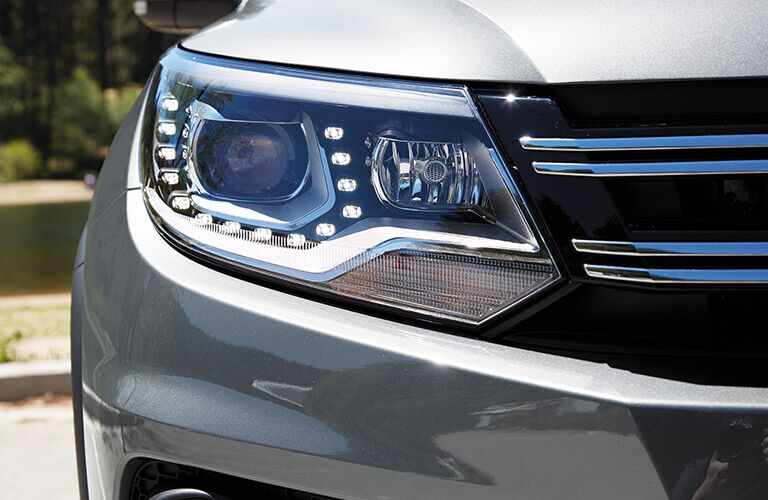 Close up of the 2017 Volkswagen Tiguan's headlight
