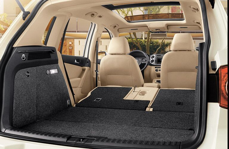 View of the 2017 Volkswagen Tiguan's folded rear seats from the trunk