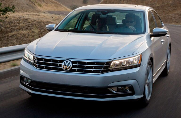 View from the front of the 2017 Volkswagen Passat driving down the highway