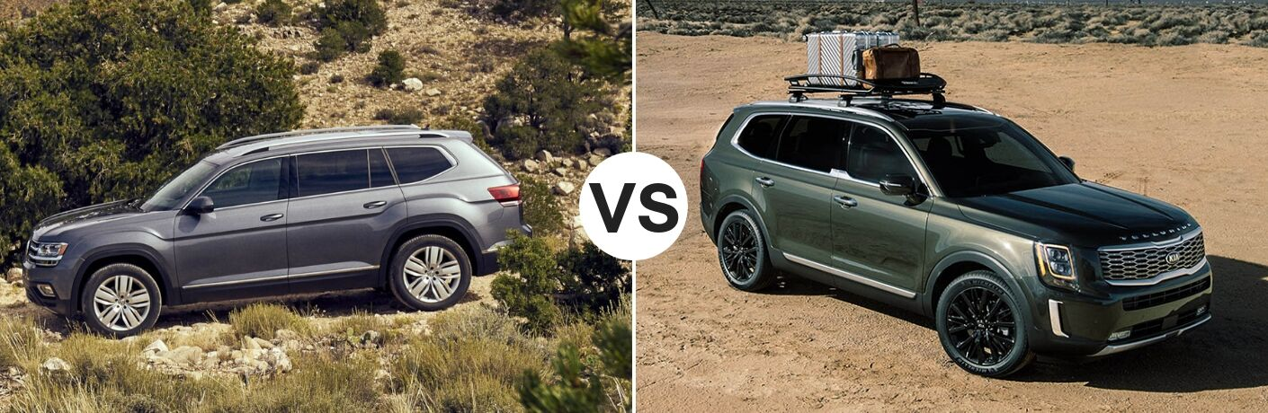 Gray 2019 Volkswagen Atlas set against a green 2020 Kia Telluride
