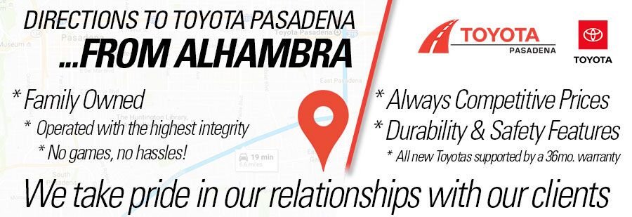 directions to Toyota Pasadena from Alhambra