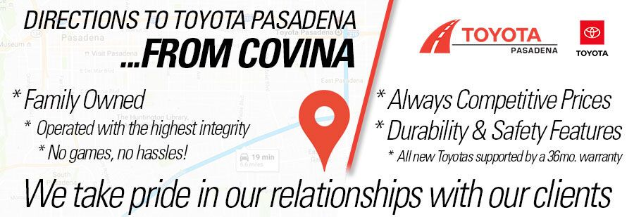 directions to Toyota Pasadena from Covina