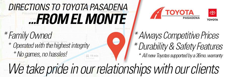 directions to Toyota Pasadena from El Monte