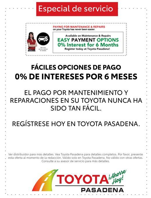 Grandes ofertas en servicio y repuestos en Toyota Pasadena. ¡Ahorra hoy!