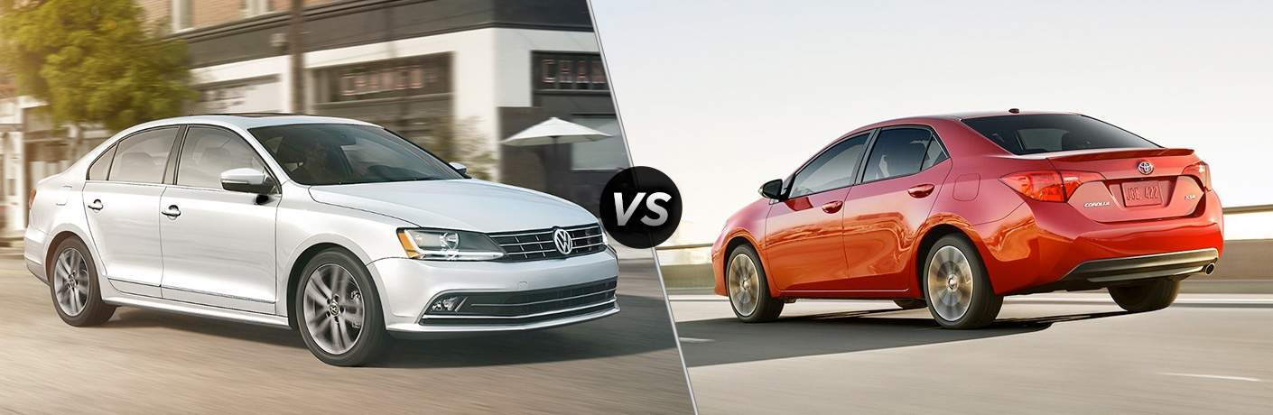 silver 2018 Volkswagen Jetta and red 2018 Toyota Corolla in a side by side comparison image