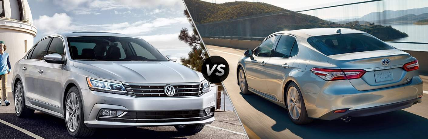 side by side images of the 2018 Volkswagen Passat and 2018 Toyota Camry