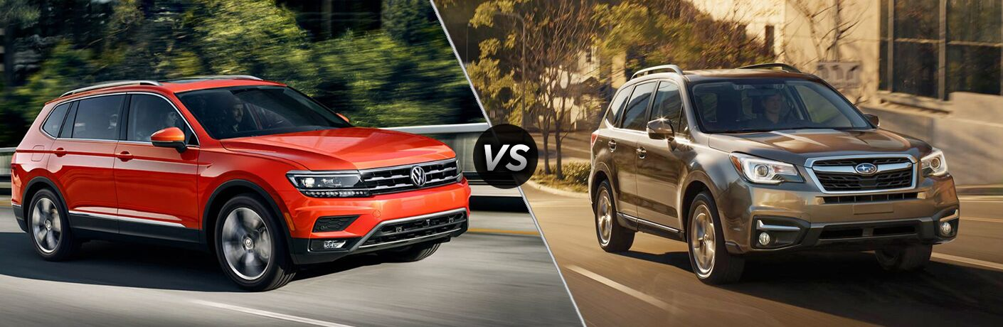 side by side images of the 2018 Volkswagen Tiguan and 2018 Subaru Forester