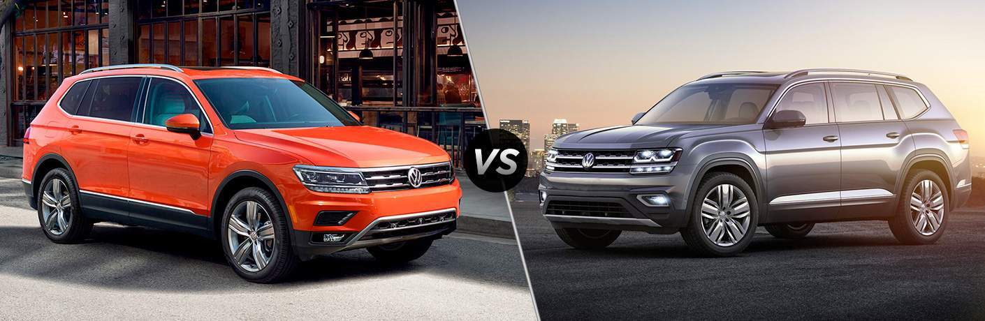 an orange 2018 Volkswagen Tiguan and a silver 2018 Volkswagen Atlas in a side by side comparison image