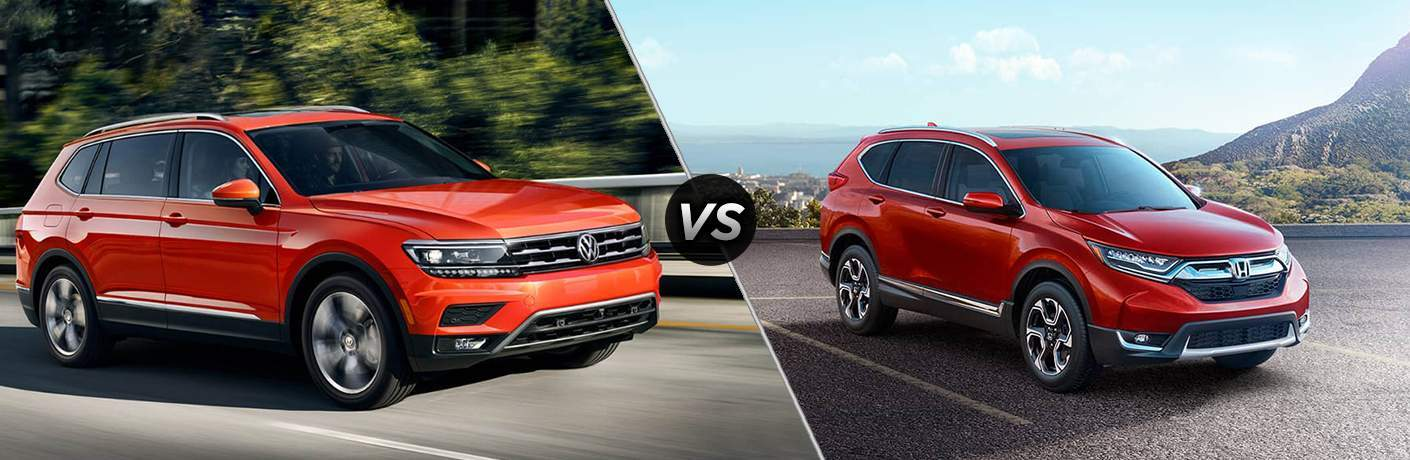side by side images of an orange 2018 Volkswagen Tiguan and a red 2018 Honda CR-V